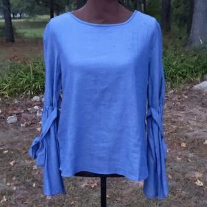 TRUTH Chambry Top Bell Sleeves w/ Tie @ Fo…